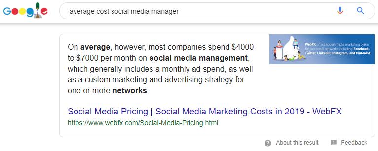 social media manager cost